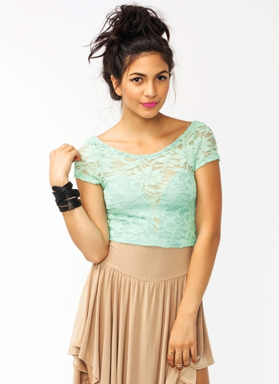 Adora-Bow Lace Cropped Top