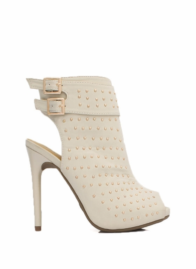 Allover Studded Cut-Out Bootie