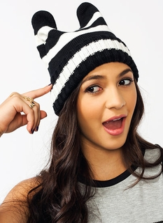 Animal Ears Striped Beanie