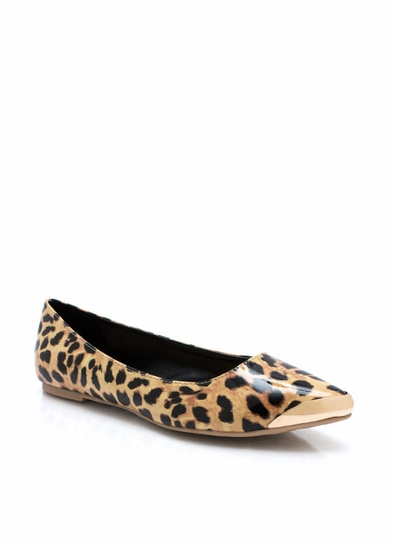 Animal Lover Faux Patent Flats