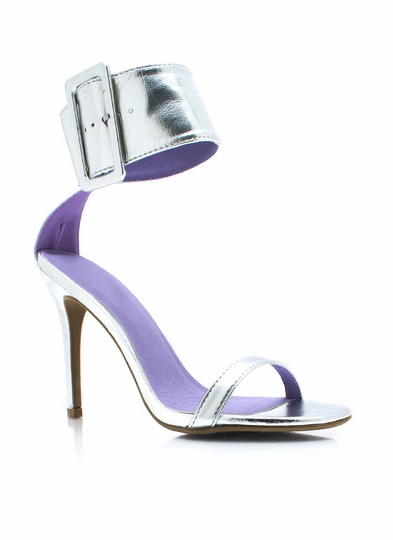 Ankle Cuff Metallic Heels