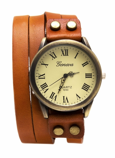 Antique Leather Wraparound Watch