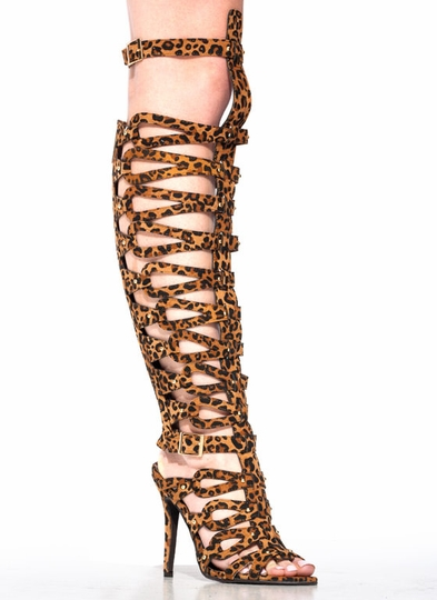 Arena Animal Leopard Gladiator Heels