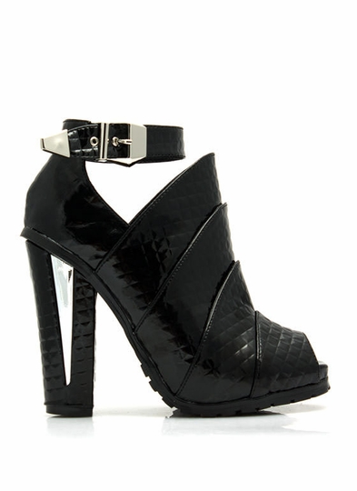 Armored Faux Patent Quilted Booties
