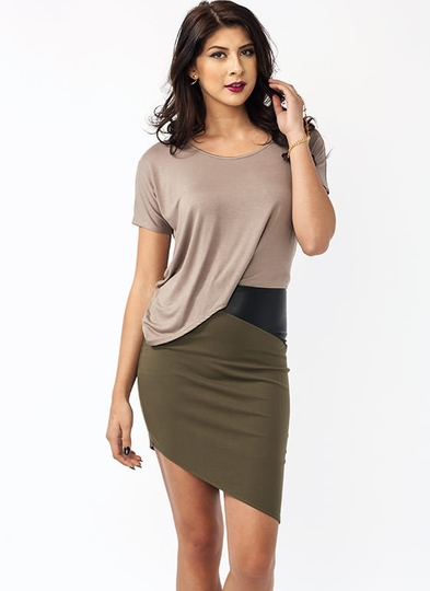 Asymmetrical Draped Tee Dress