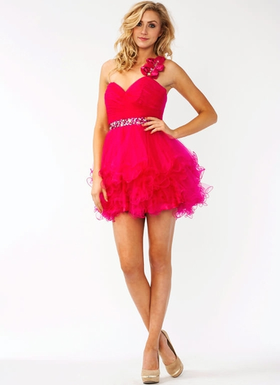 Asymmetrical Embellished Tulle Formal