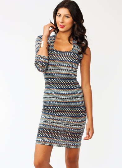Asymmetrical Sublimation Midi Dress