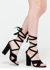 At A Crossroad Strappy Chunky Heels