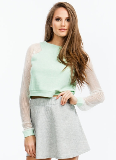Athletic Mesh Cropped Sweatshirt