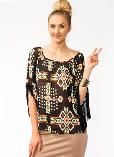 Aztec Fringed Blouse