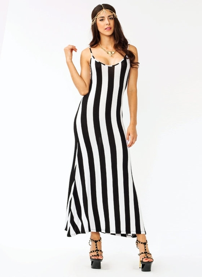 Backless Striped Maxi Dress