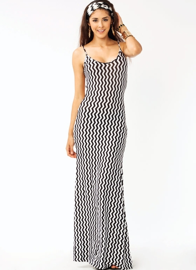 Backless Vertical Zigzag Maxi Dress