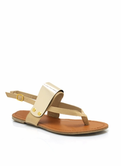 Banded Metallic Thong Sandals