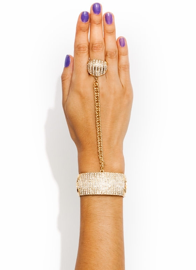 Barred Rhinestone Ornament Hand Bracelet