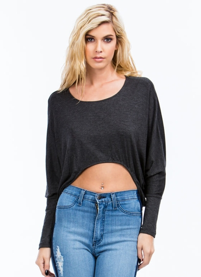 Basic Babe Curved Dolman Top
