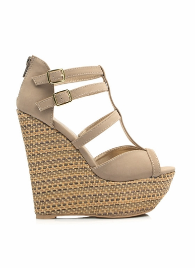Basket Weave T-Strap Wedges