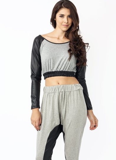 Batter Up Faux Leather Cropped Top