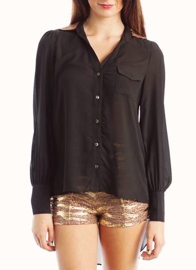 Bead Embellished Button-Up Blouse