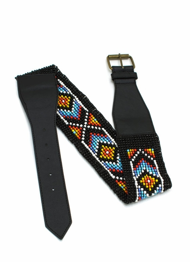 Beaded Buckle Stretch Belt