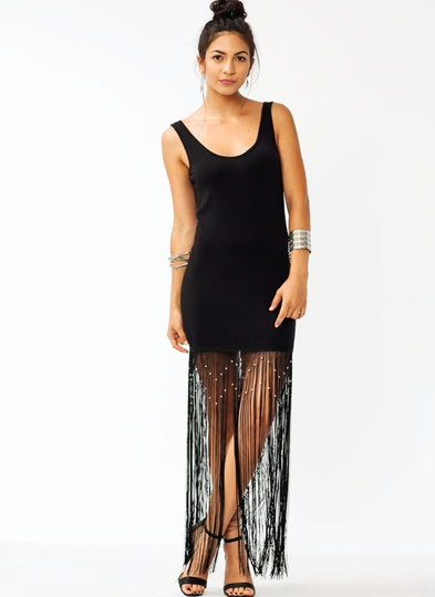 Beaded Fringe Tank Dress
