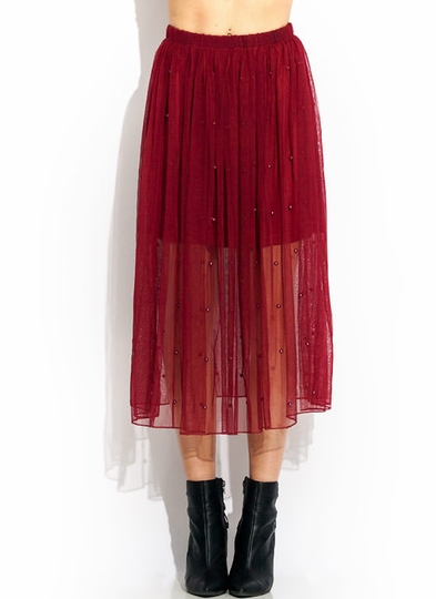 Beaded Tulle Midi Skirt