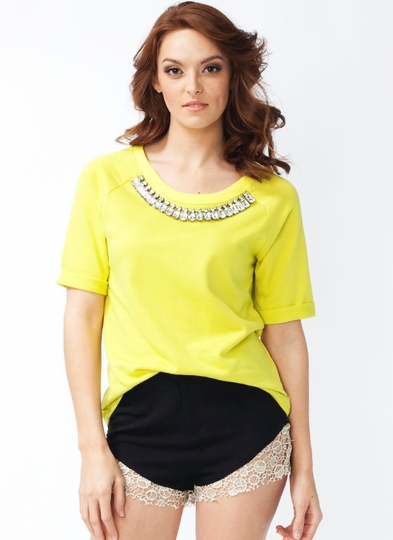 Bejeweled Collar Top