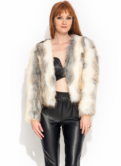 Bejeweled Faux Fur Jacket