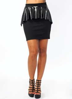 Better In Vinyl Peplum Skirt