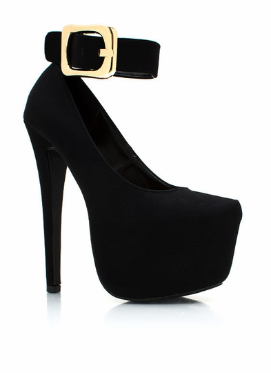 Big Buckle Platform Pumps