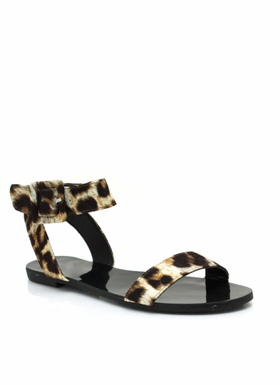 Big Buckled Leopard Sandals