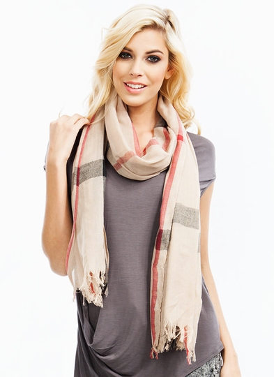 Big Plaid Fringe Scarf