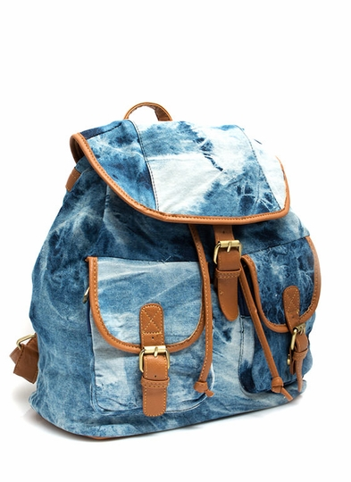 Bleach Washed Away Denim Backpack