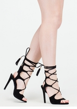Boho Cues Caged Lace-Up Heels