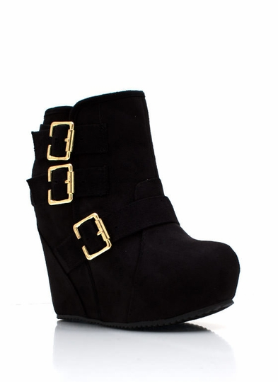 Bold Buckled Wedge Booties