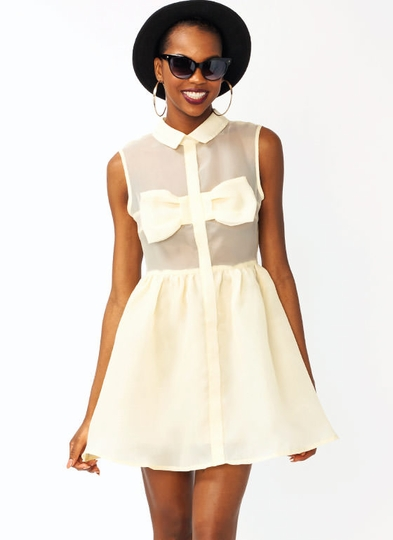 Bow Accent Taffeta Skater Dress
