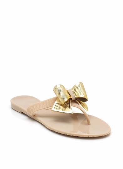 Bow Accented Jelly Sandals