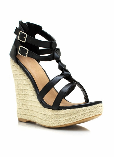 Braided Strappy Espadrille Wedges