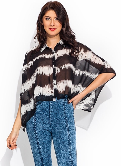 Brush Strokes Boxy Cropped Blouse