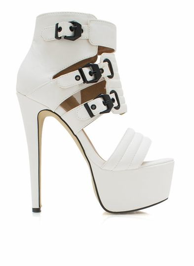 Buckle Down Strappy Platform Heels