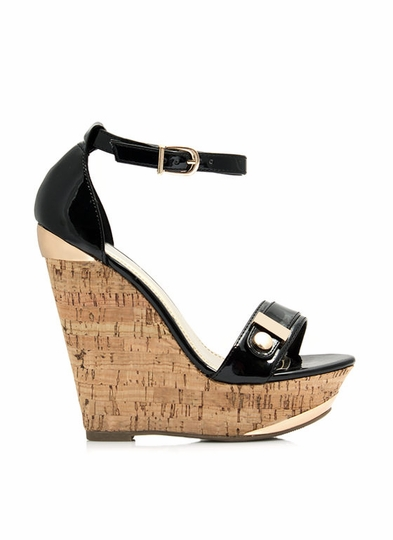Buckle In Faux Cork Wedges