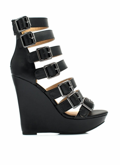 Buckle Jam Strappy Wedges