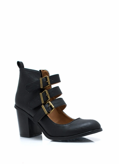 Buckle Up Cut-Out Booties