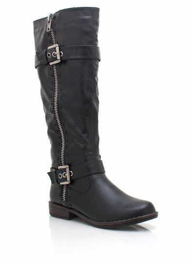 Buckle Zipper Riding Boot