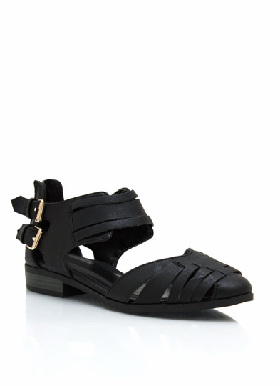 Buckled In Faux Leather Sandals