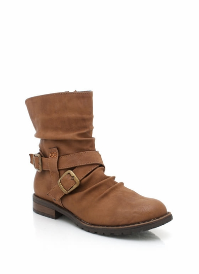 Buckled Low-Rise Boots