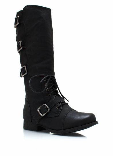 Buckled Up Faux Leather Boots