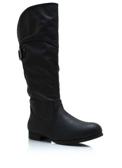 Buckling Down Faux Leather Boots