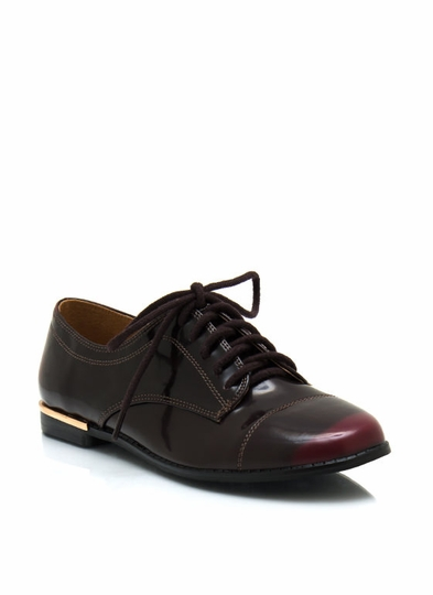 Burnished Faux Patent Oxfords