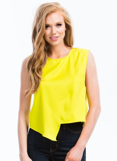 Button Back Asymmetrical Shell Top