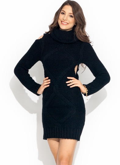 Cable Knit Cold Shoulder Dress